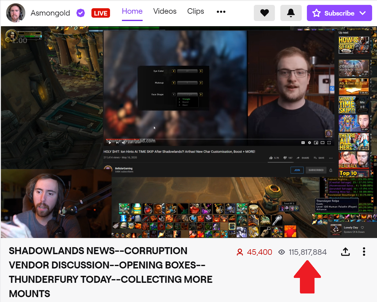 The Home tab for Asmongold shows the channel has 115M views as of 19th May, 2020.