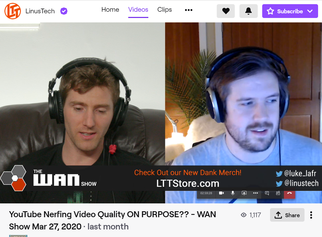 LinusTechTips had their live audience on Twitch and YouTube raid PlantyTime's Twitch stream before ending their Weekly Analysis And News Show stream on March 27th, 2020