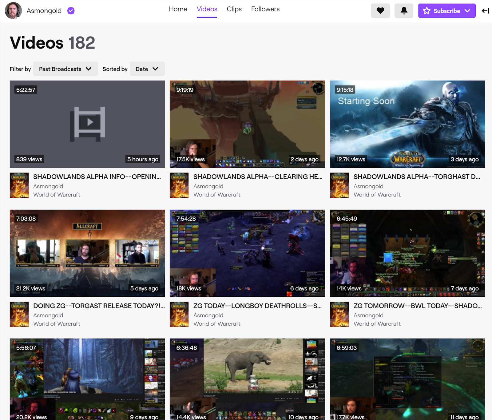 Screenshot of Asmongold's Videos tab for showing information about his archived broadcasts.